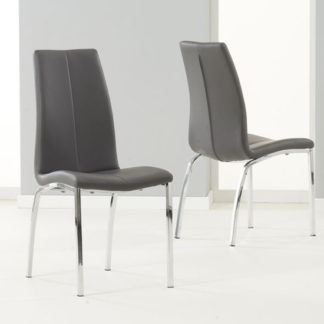 An Image of Lupus Grey Leather Dining Chairs In Pair