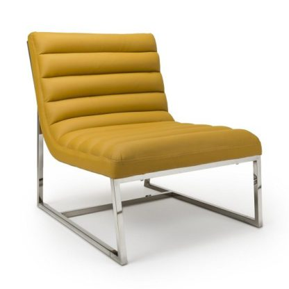 An Image of Raya Faux Leather Armchair In Yellow With Stainless Steel Frame