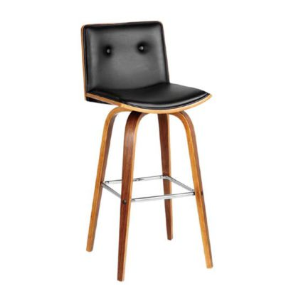 An Image of Annabelle Bar Stool In Black Leather Effect With Walnut Frame