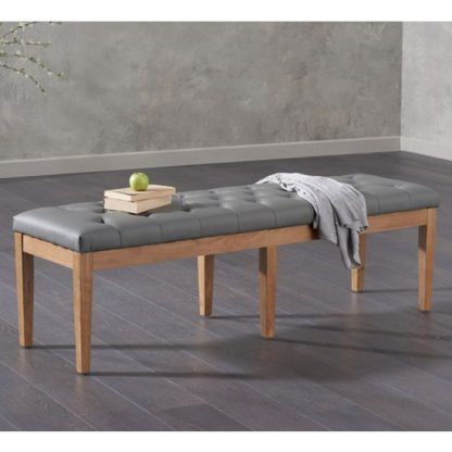 An Image of Absolutno Faux Leather Dining Bench In Grey