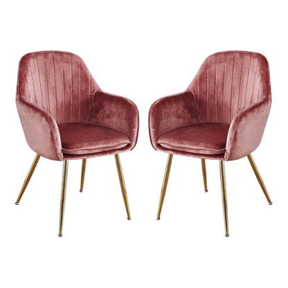 An Image of Lara Dusky Pink Dining Chair With Gold Legs In Pair
