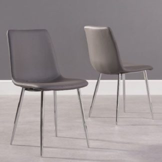 An Image of Hemlock Grey Faux Leather Dining Chair In A Pair