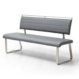 An Image of Scala Dining Bench In Grey PU And Brushed Stainless Steel