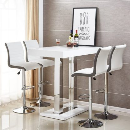 An Image of Caprice Bar Table In White Gloss With 4 Ritz Stools