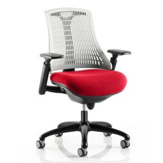 An Image of Flex Task White Back Office Chair With Bergamot Cherry Seat