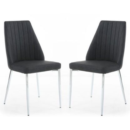An Image of Odeon Dark Grey Leather Curved Back Dining Chair In A Pair