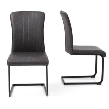An Image of Duplex Antique Grey PU Dining Chairs In Pair