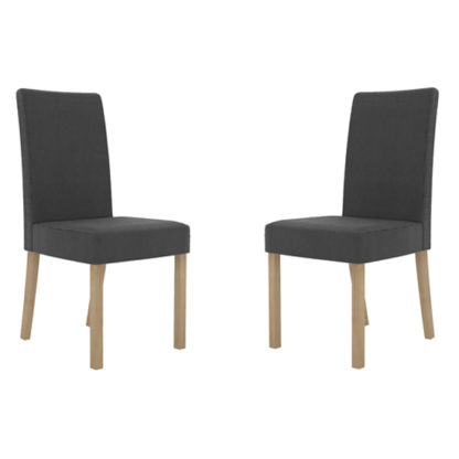 An Image of Melodie Charcoal Dining Chairs In Pair
