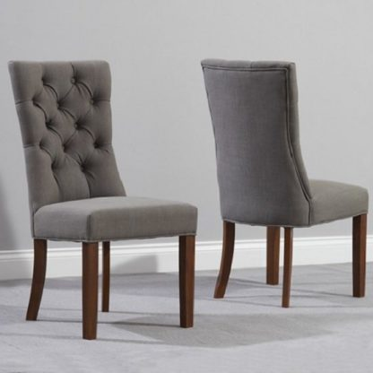 An Image of Tetras Fabric Dining Chair In Grey And Dark Oak In A Pair
