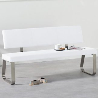 An Image of Celina Large Dining Bench In White Faux Leather