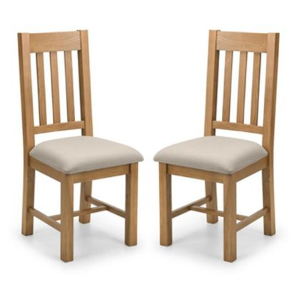 An Image of Hereford Waxed Oak Dining Chair In Pair
