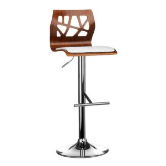 An Image of Surface Bar Stool In White And Walnut With Chrome Base