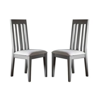 An Image of Cookham Wooden Grey Dining Chair In Pair