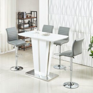 An Image of Memphis Glass Bar Table High Gloss White 4 Ripple Grey Stools
