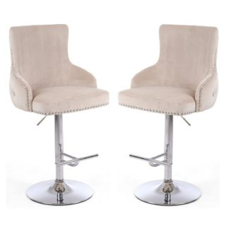An Image of Reese Mink Velvet Bar Stools With Chrome Base In A Pair