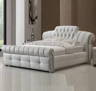 An Image of Veronica Chesterfield King Bed In White Bonded Leather