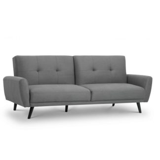 An Image of Aldonia Fabric Sofa Bed In Mid Grey Linen With Wooden Legs