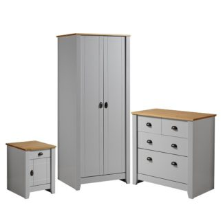 An Image of Gibson Wooden Bedroom Furniture Set In Grey And Oak