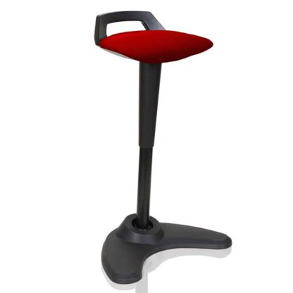 An Image of Spry Fabric Office Stool In Black Frame And Bergamot Cherry Seat