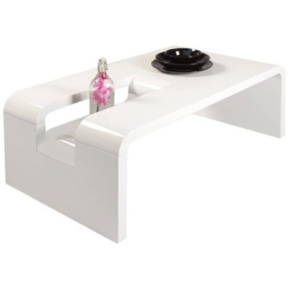 An Image of Jana Rectangular Coffee Table In White High Gloss