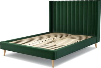 An Image of Custom MADE Cory King size Bed, Bottle Green Velvet with Oak Legs
