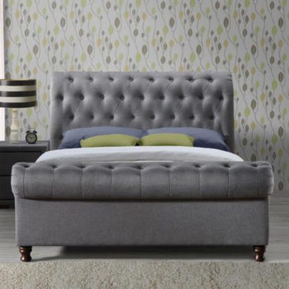 An Image of Castello Fabric Double Bed In Grey