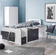 An Image of Alicia Storage Cabin Bed In White And Charcoal Grey With Desk