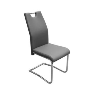 An Image of Capella Faux Leather Dining Chair In Grey