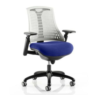 An Image of Flex Task White Back Office Chair With Stevia Blue Seat