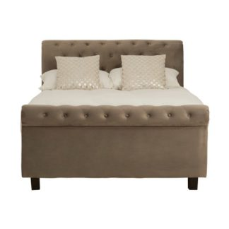 An Image of Lionrock Ottoman Fabric Double Bed In Grey
