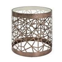 An Image of Nicole Glass Side Table Round In Clear With Antique Bronze Frame