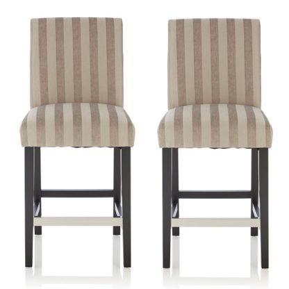An Image of Alden Bar Stools In Silver Fabric And Black Legs In A Pair