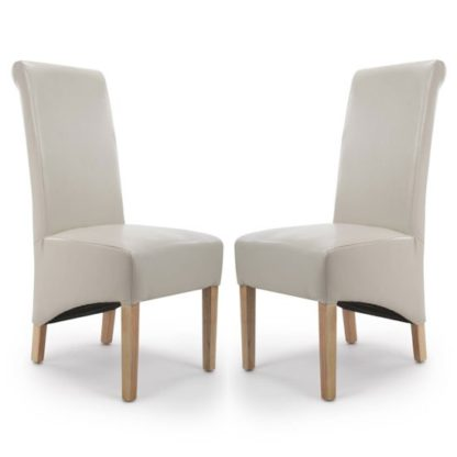 An Image of Krista Ivory Bonded Leather Dining Chair In A Pair