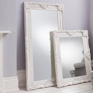 An Image of Valley Floor Mirror Rectangular Leaner In White