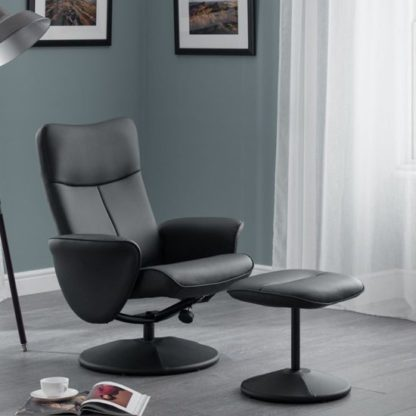 An Image of Lugano Faux Leather Swivel And Recliner Chair In Black