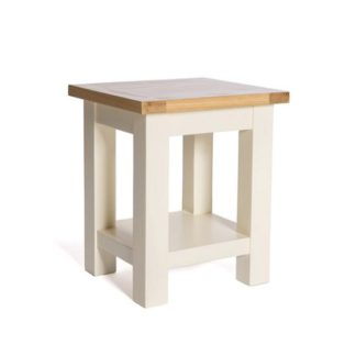 An Image of Lexington Wooden End Table In Ivory With Undershelf
