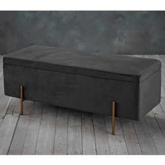 An Image of Lola Storage Ottoman In Grey
