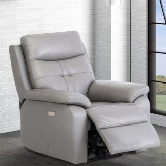An Image of Sophia Faux Leather Electric Recliner Armchair In Grey