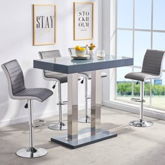 An Image of Caprice Glass Bar Table In Grey Gloss With 4 Ritz Stools