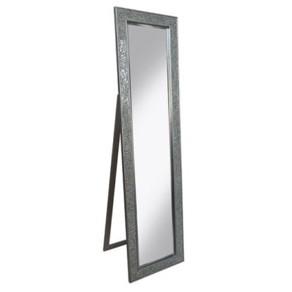 An Image of Aliza Floor Standing Cheval Mirror In Silver Mosaic Frame