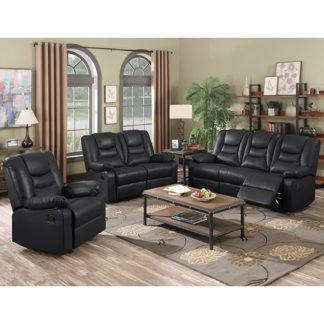 An Image of Gruis LeatherGel And PU Recliner Sofa Suite In Black
