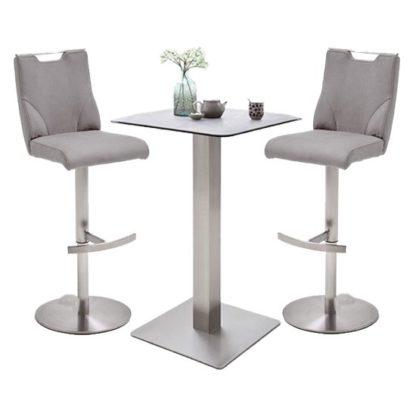 An Image of Soho Glass Bar Table With 2 Jiulia Ice Grey Stools