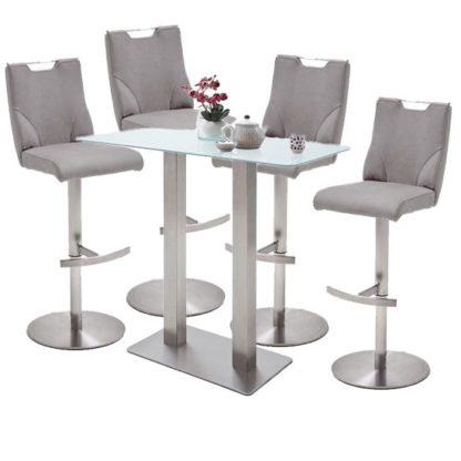An Image of Soho White Glass Bar Table With 4 Jiulia Ice Grey Stools