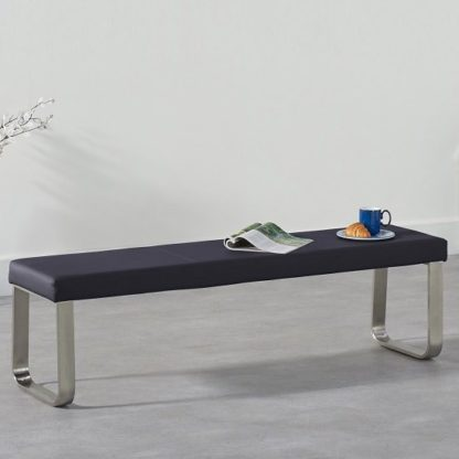 An Image of Washington Large Dining Bench In Black Faux Leather