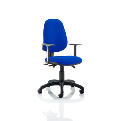 An Image of Redmon Fabric Office Chair In Blue With Height Adjustable Arms