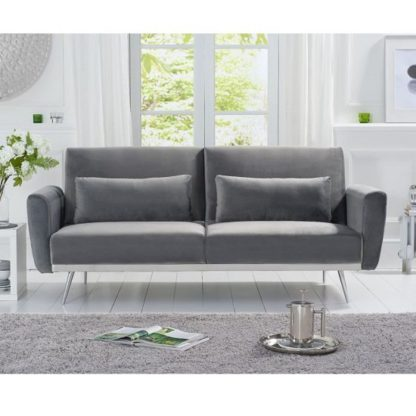An Image of Millom Velvet Sofa Bed In Grey With Angled Metal Legs