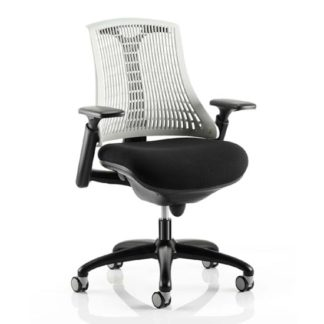 An Image of Flex Task Office Chair In Black Frame With White Back