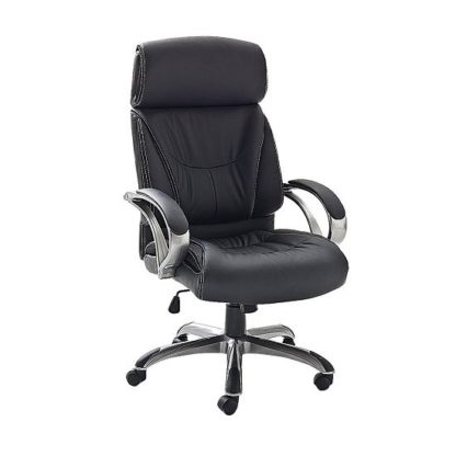 An Image of Dover Home Office Chair In Black PU Leather And Padded Armrests
