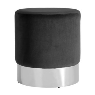 An Image of Sceptrum Velvet Round Stool In Black With Silver Base