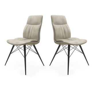 An Image of Ardoch Faux Leather Dining Chair In Antique Beige In A Pair